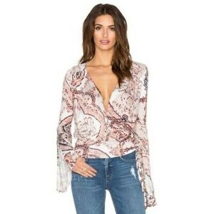 FIONA BELL SLEEVE FAUX WRAP TOP